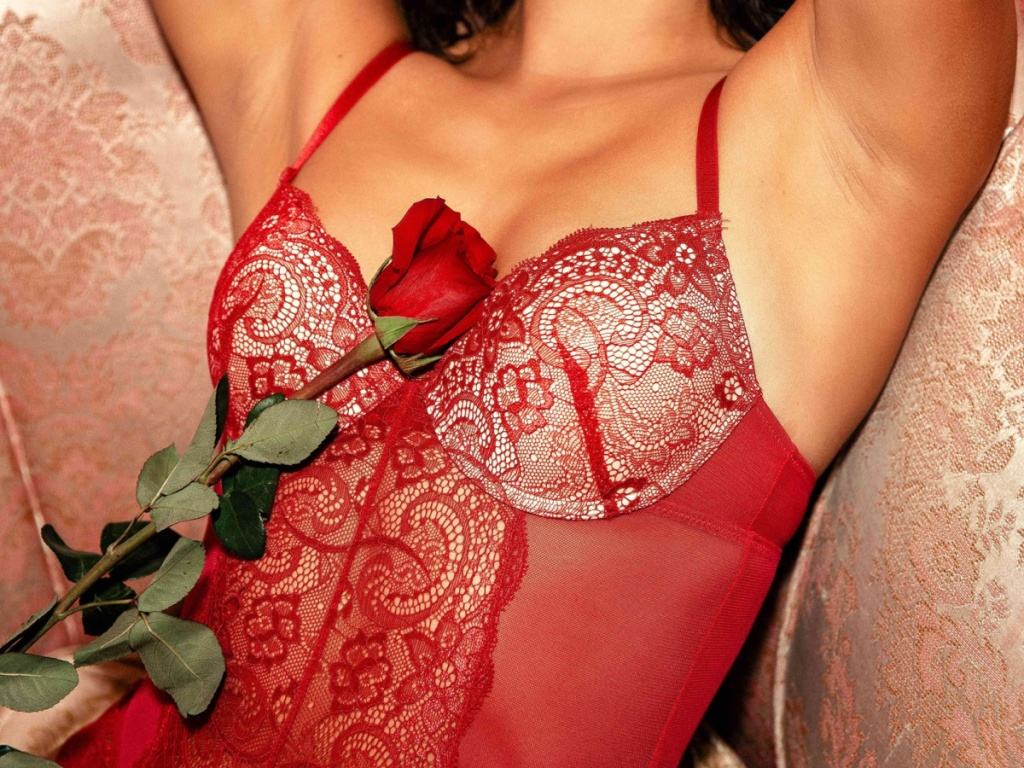 woman wearing red lacy teddy with rose over her