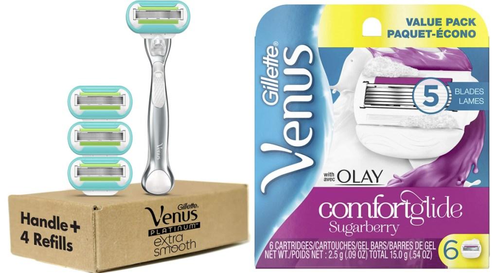 gillette platinum extra smooth and venus comfortglide razors