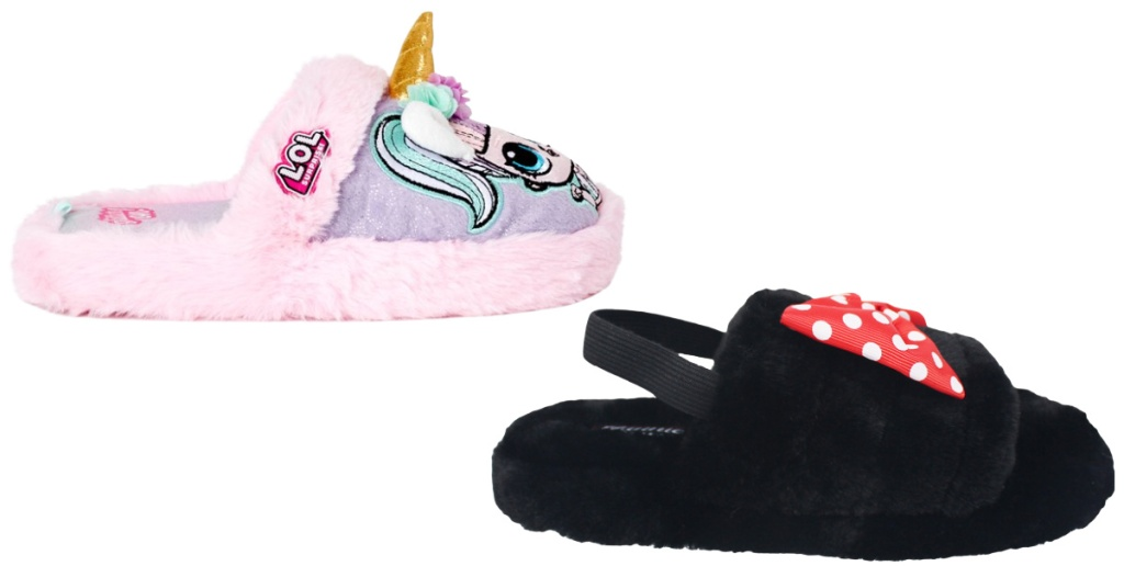 girls l.o.l. and minnie slippers
