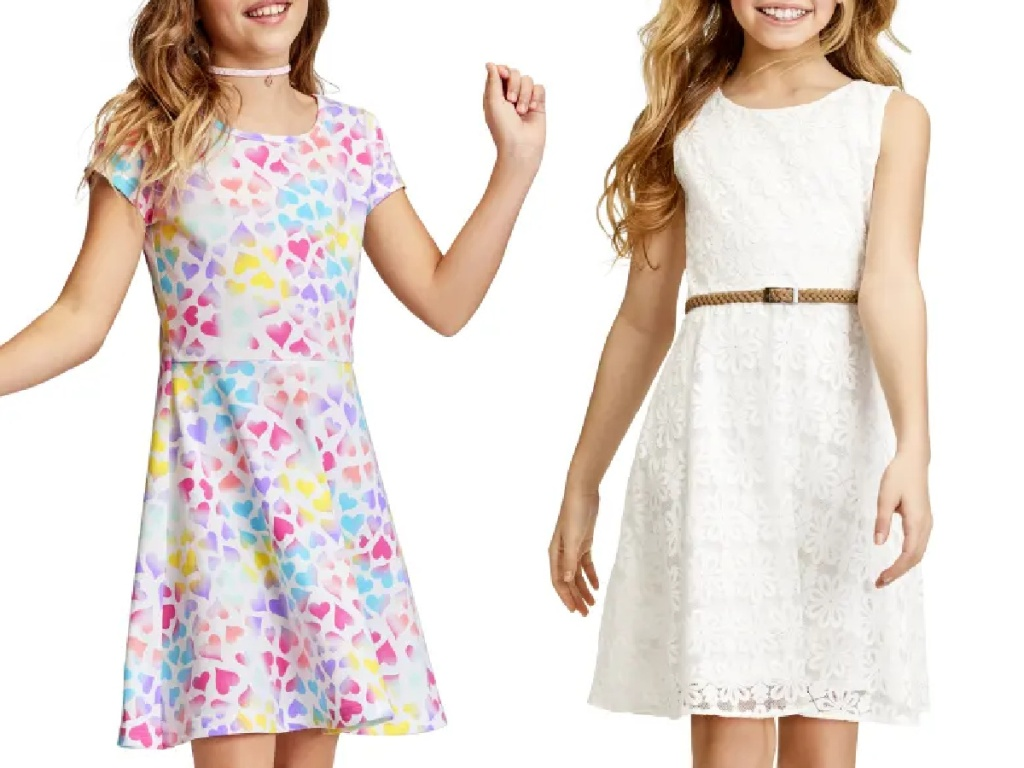 girls wearing easter dresses from the children's place