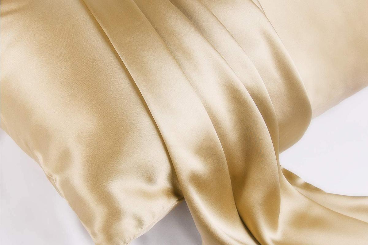 gold silk pillowase