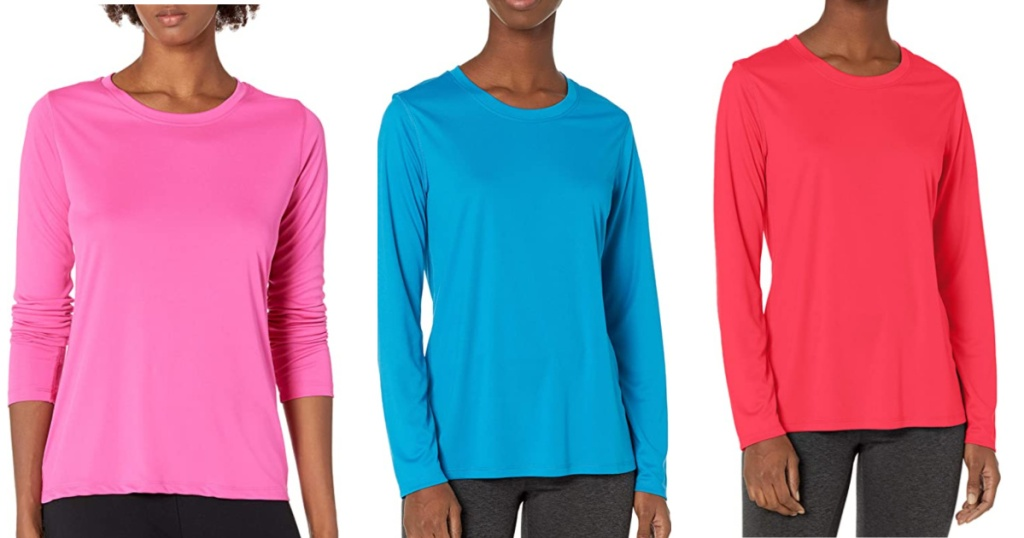 women wearing pink blue and hot pink hanes tees