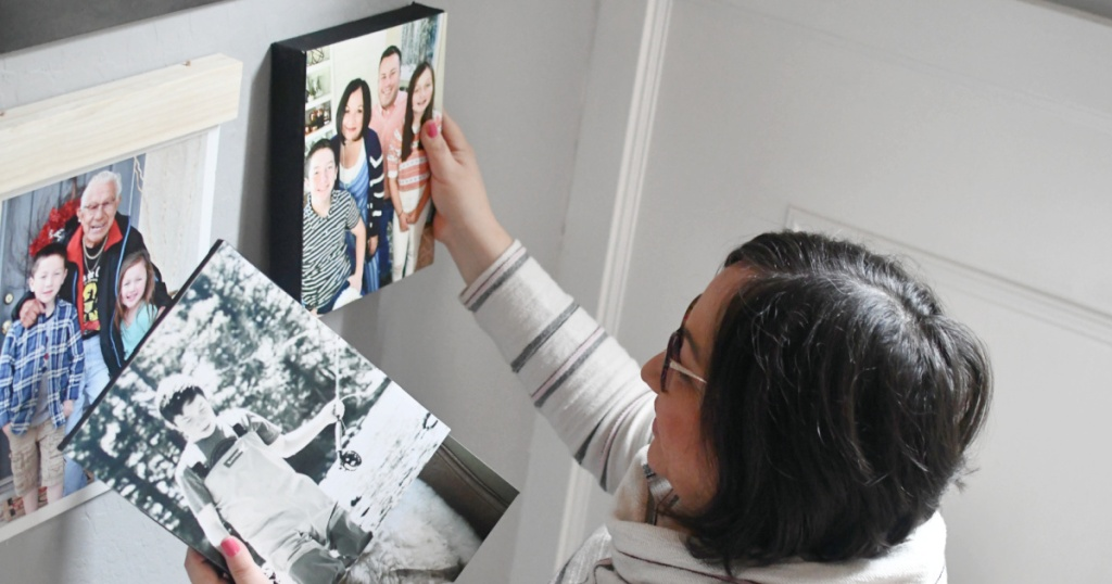 hanging diy photo canvas in gallery wall