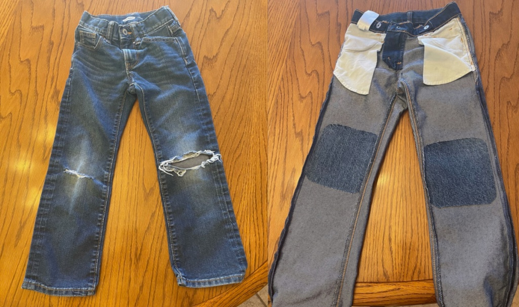 jeans with holes and jeans with patches