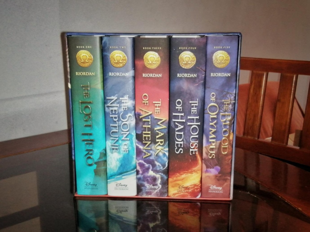 boxed book set sitting on table