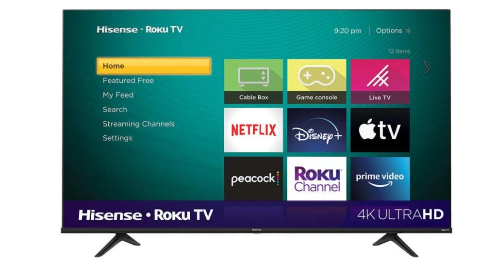 hisense 55 roku tv w/ apps shown