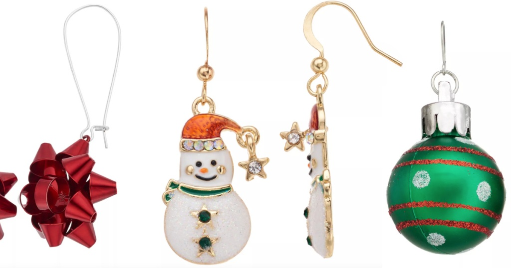 holiday earrings snowman, bow, and ornament