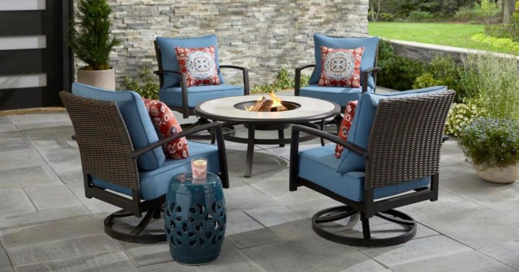 fire pit patio set with blue cushions