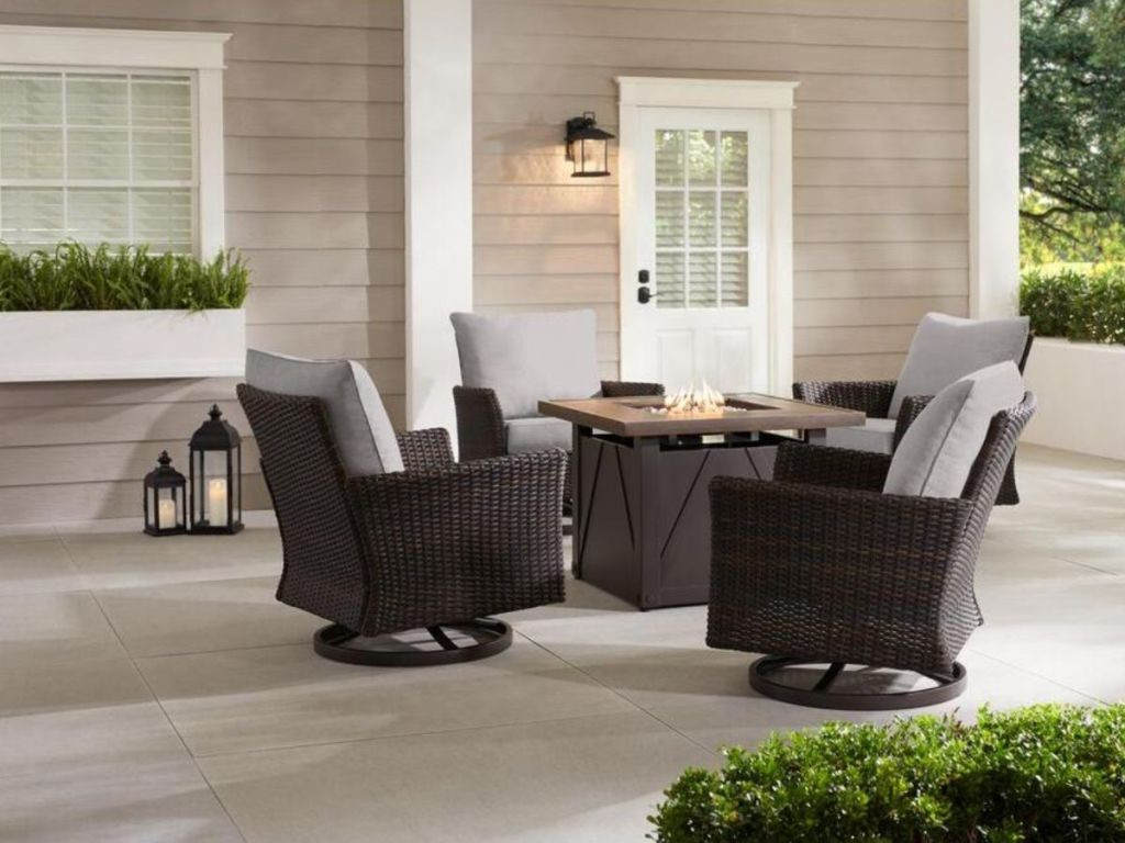 wicker fire pit patio set with gray cushions