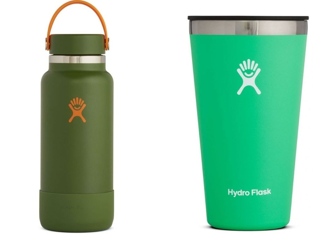green Hydro Flask bottle and tumbler