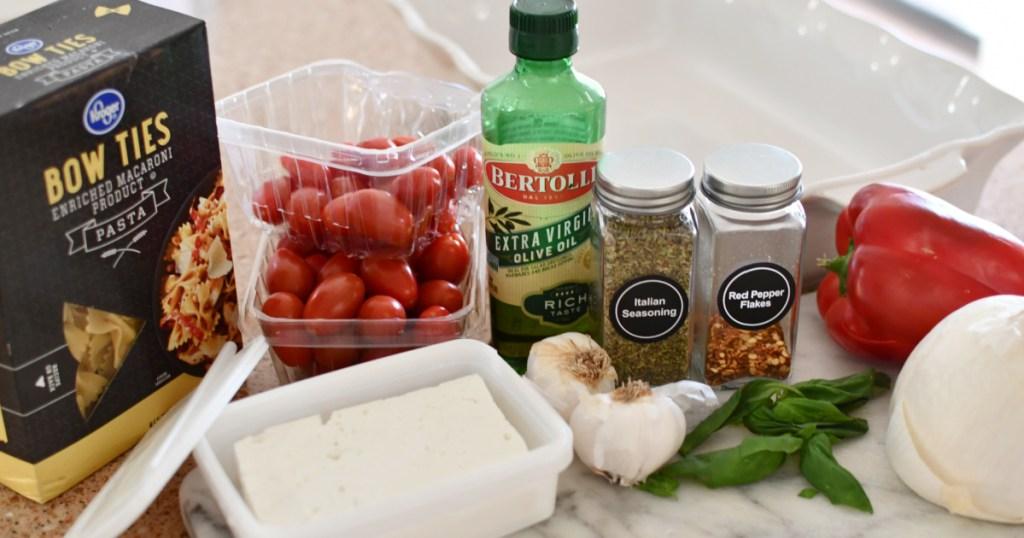 ingredients for tiktok feta pasta on the counter