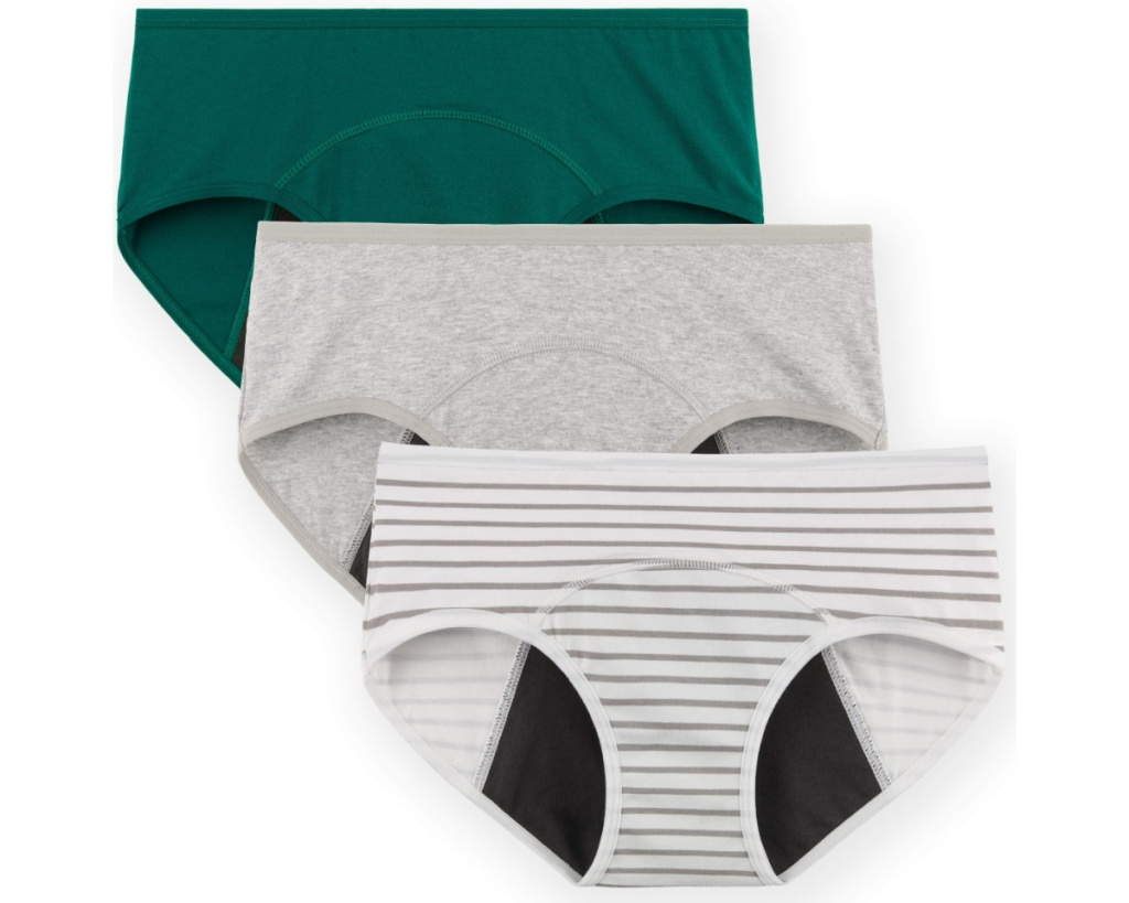 innersy period panties green 3-pack with white stripes and gray pattern