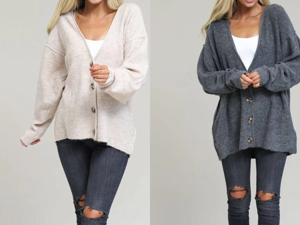 women wearing beige and gray button down sweaters