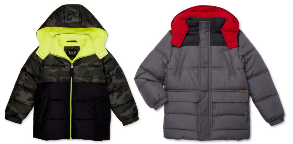 kids camo color block coat and red black and gray color block coat