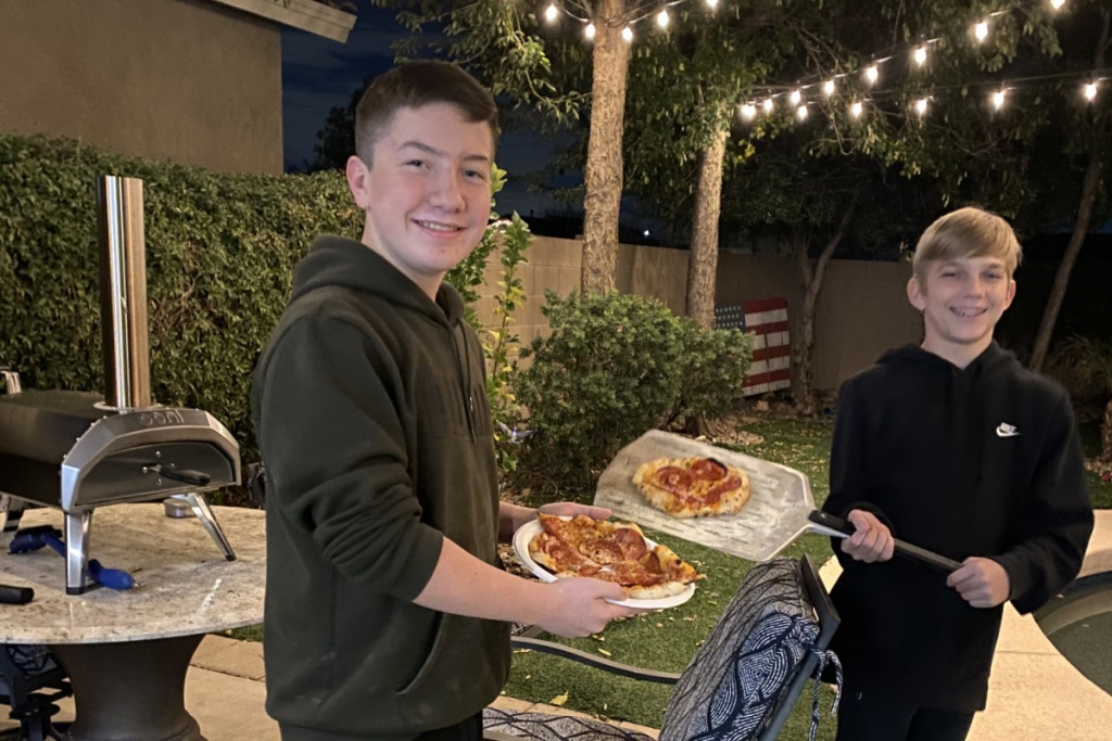 kids cooking with the Ooni Pizza Oven