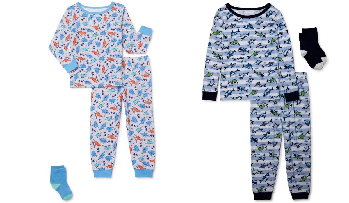 two kids pajamas with matching socks