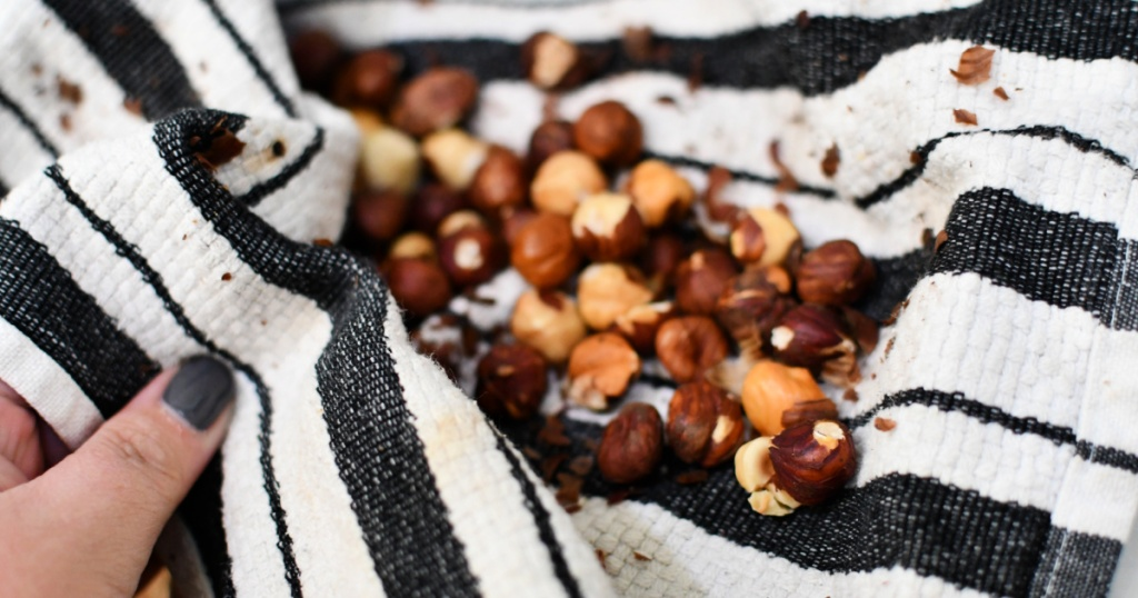 kitchen towel with roasted hazelnuts