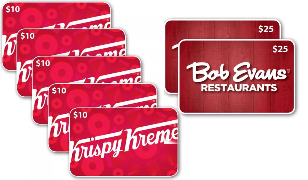 krispy kreme gift cards and bob evans gift cards