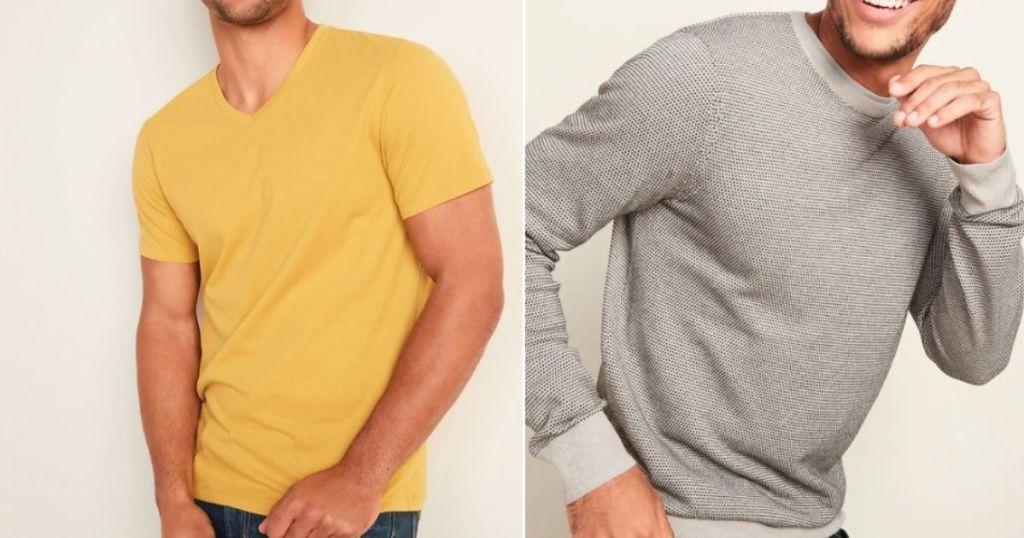 guys wearing yellow tee and gray sweater