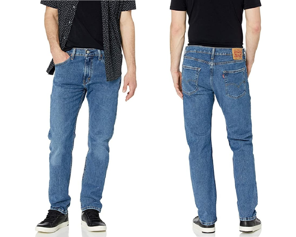 levi mens taper jeans front and back