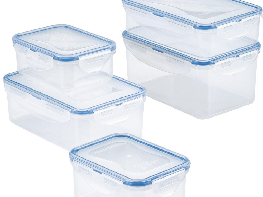 set of plastic storage boxes with lids