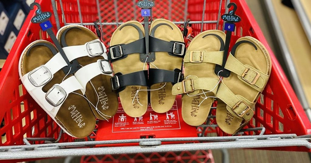 Mad Love flat bed sandals in Target shopping cart