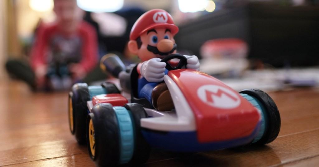 mario kart rc racer on floor