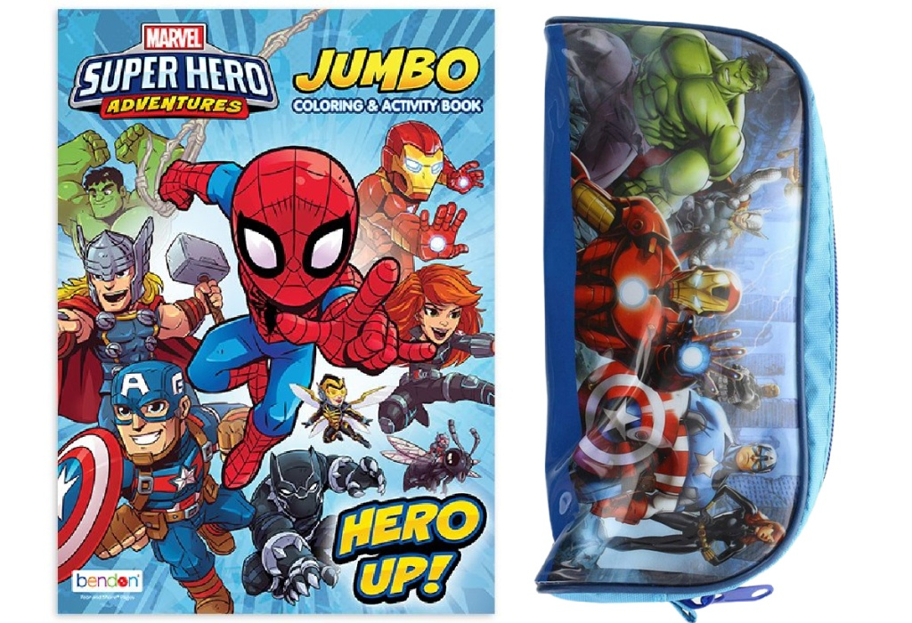marvel activity book and zip pouch with puzzle