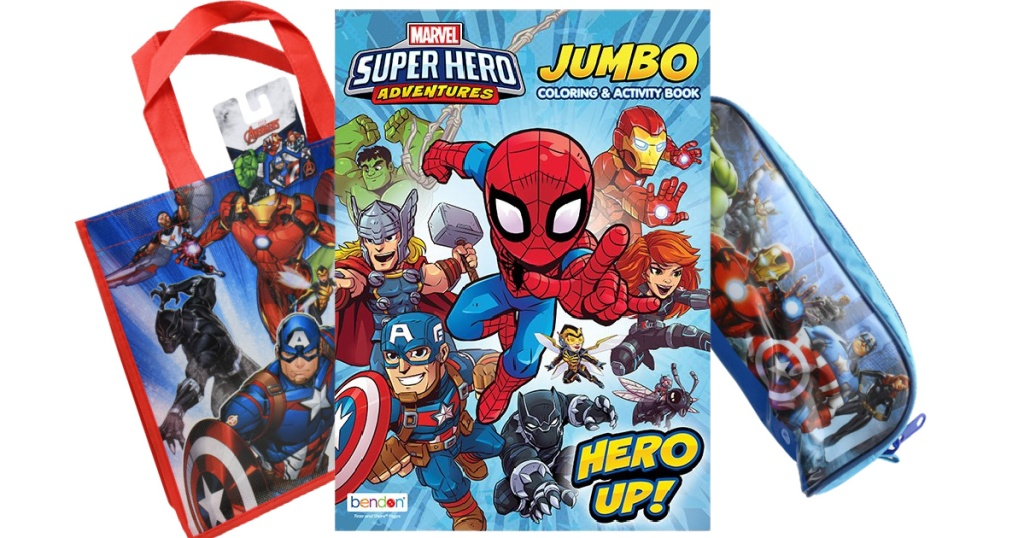 marvel activity book, tote and puzzle in pouch