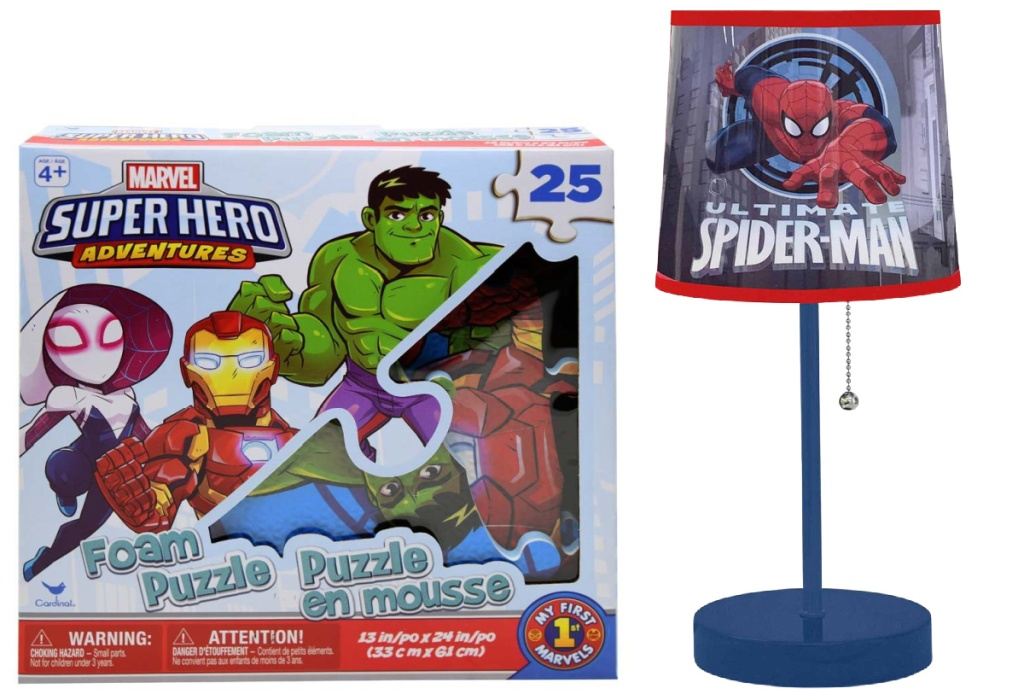 marvel foam puzzle and spiderman lamp