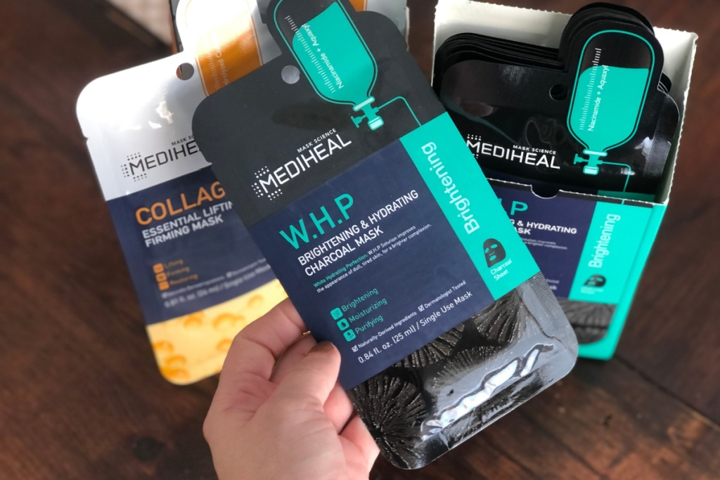 mediheal charcoal mask in hand in package