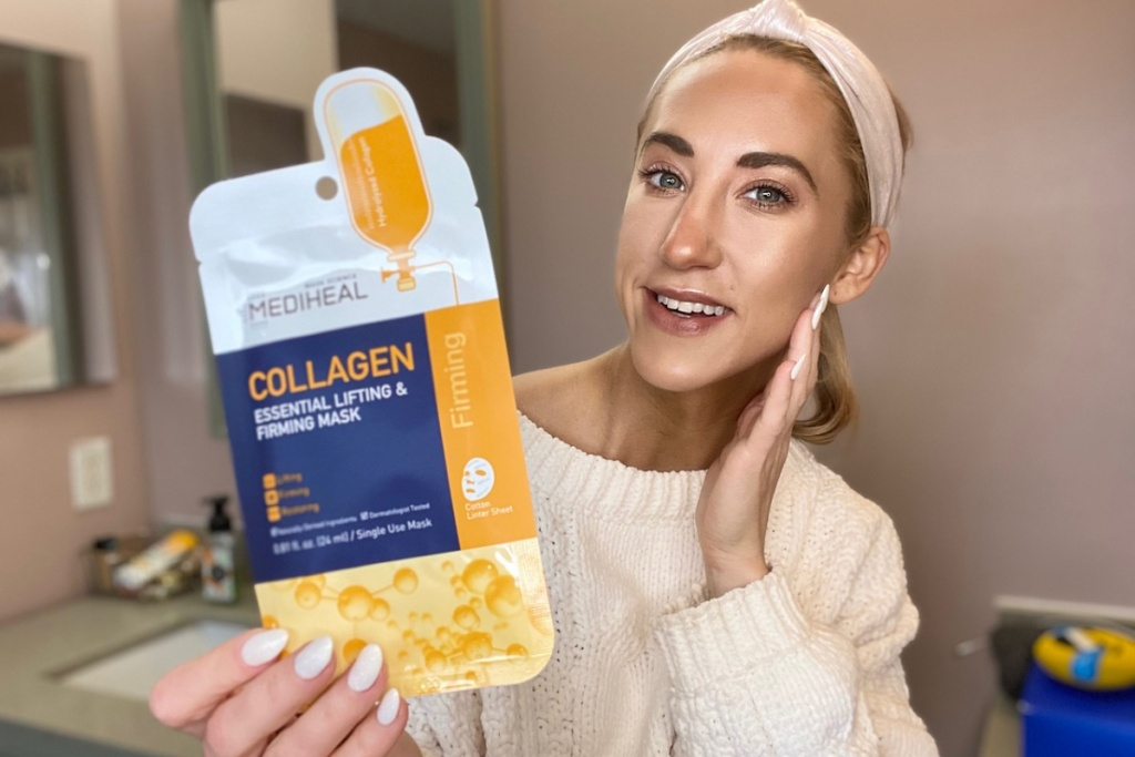 mediheal collagen mask in hand with woman showing off skin