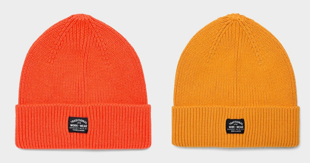 mens beanie orange and yellow
