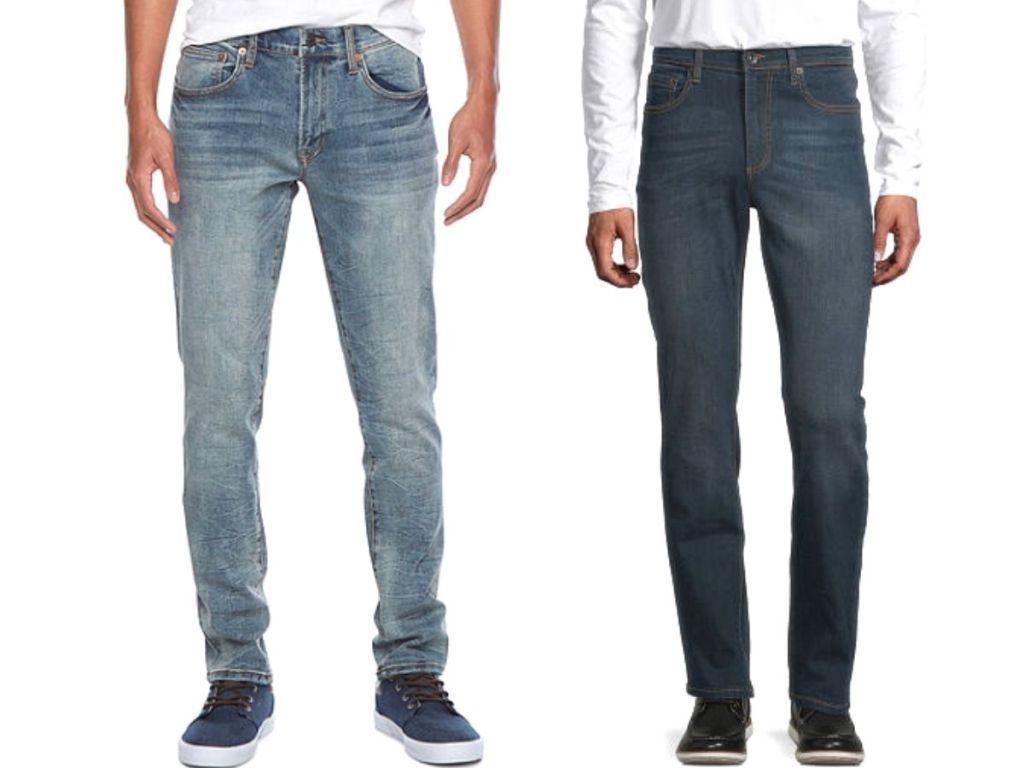 men wearing denim jeans