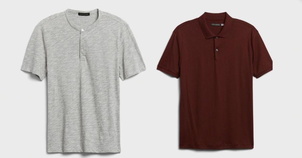 gray tee and maroon polo