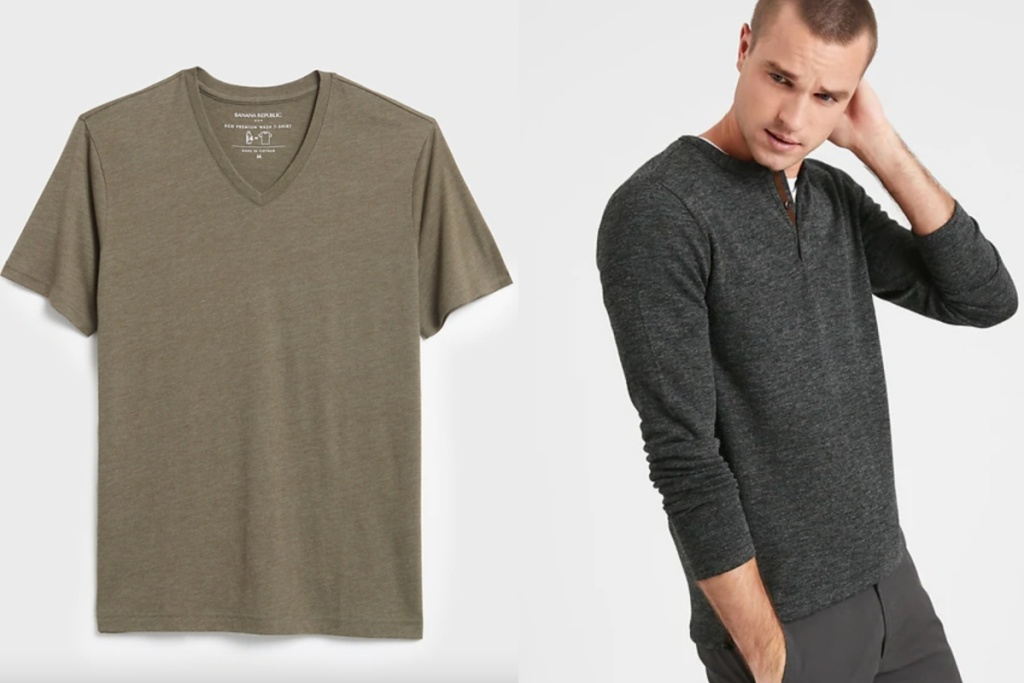 mens tops v neck and long sleeve