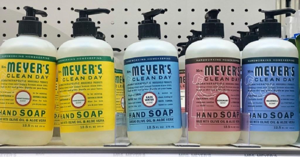 mrs meyers hand soaps many on shelf