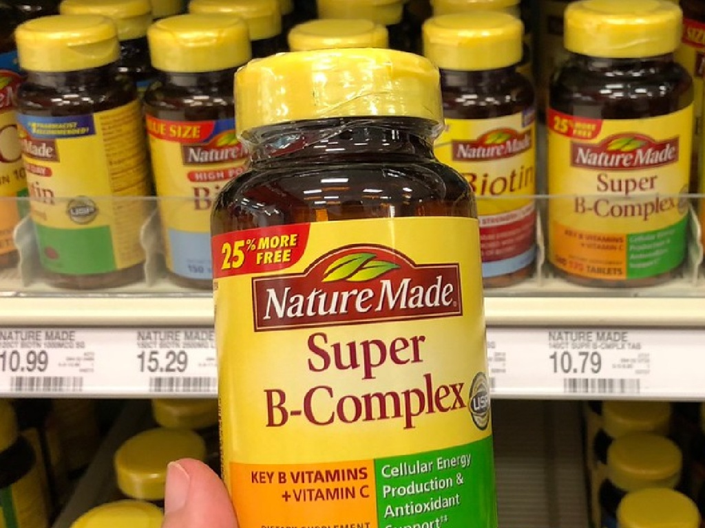 nature made super b-complex in hand at store