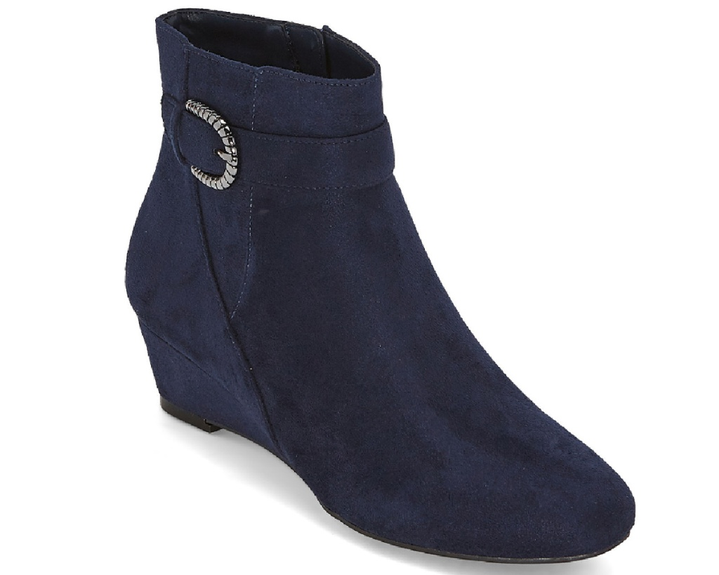 navy wedge boot with jewel