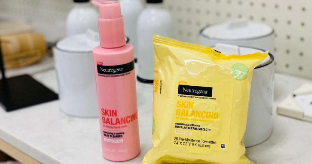 two neutrogena skin balancing cleansers