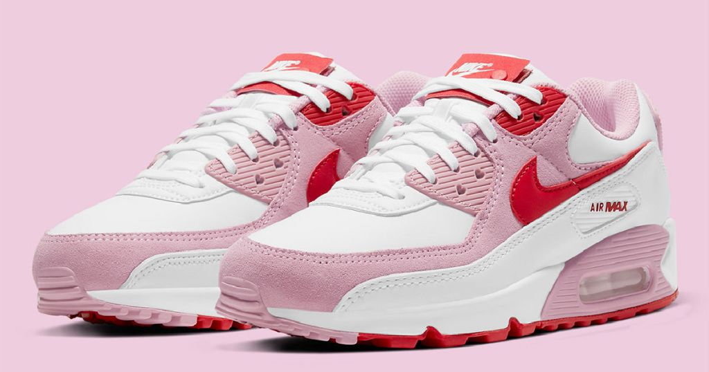 pair of Valentine's Day themed Nike sneakers