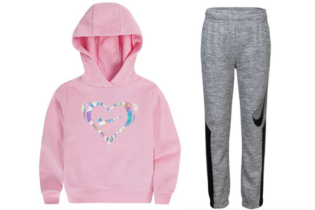 nike kids apparel hoodie and pants