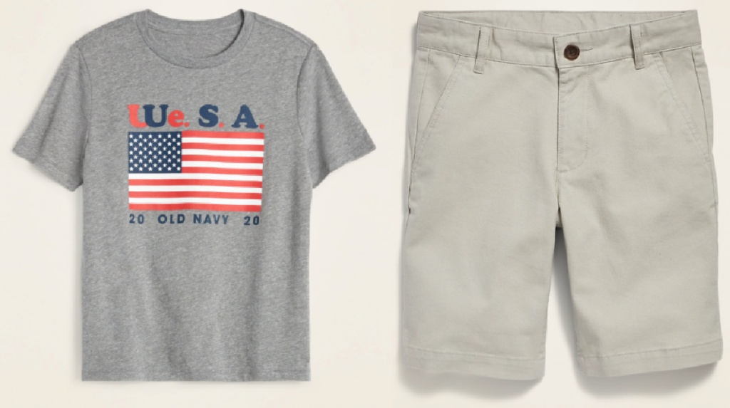 gray old navy tee with American flag and tan shorts