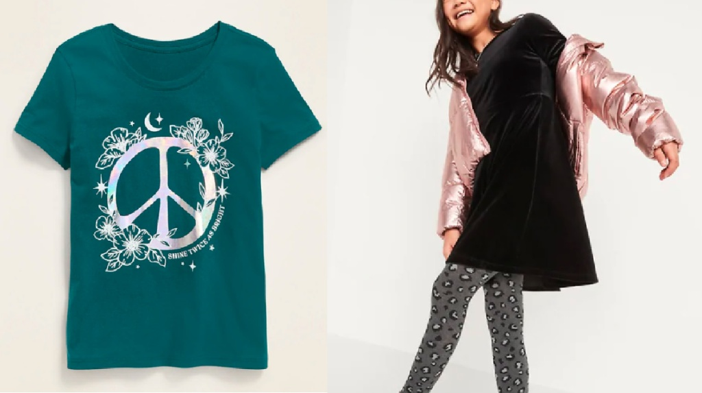 green tee with peace sign and girl wearing black dress and pink coat and leggings