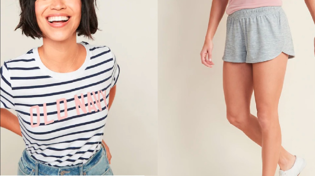 woman wearing striped old navy tee and woman wearing gray shorts