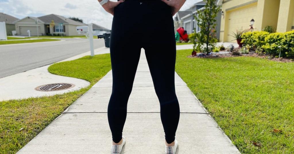 old navy leggings on woman standing backwards