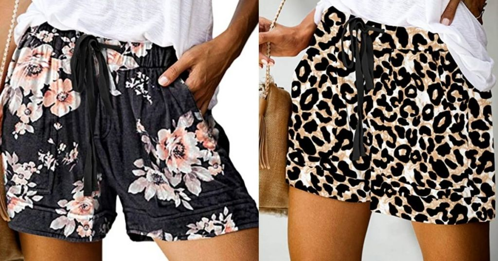 women wearing floral and leopard print shorts