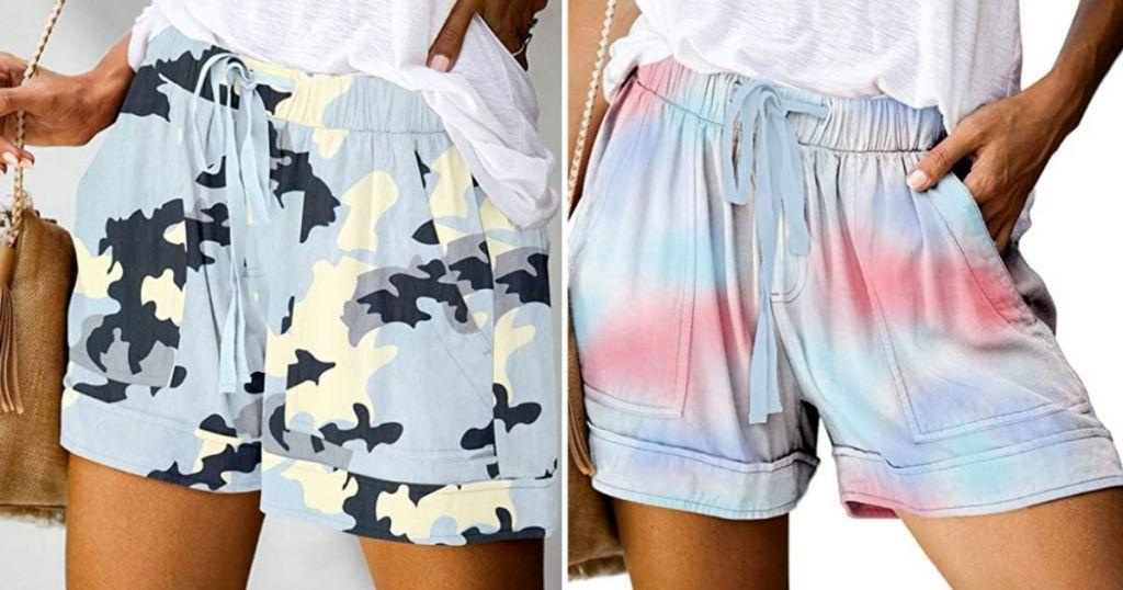 women wearing camo and tie dye shorts