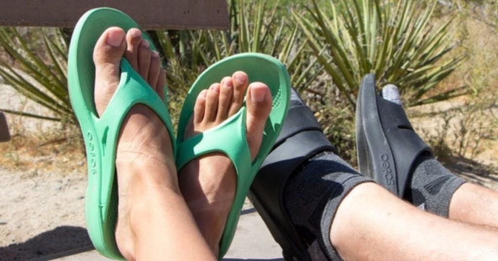 oofos oolala shoes teal on feet