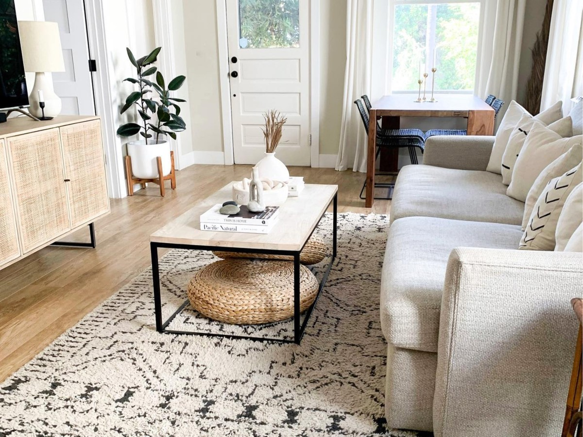living room with neutral decor from the president's day furniture sales